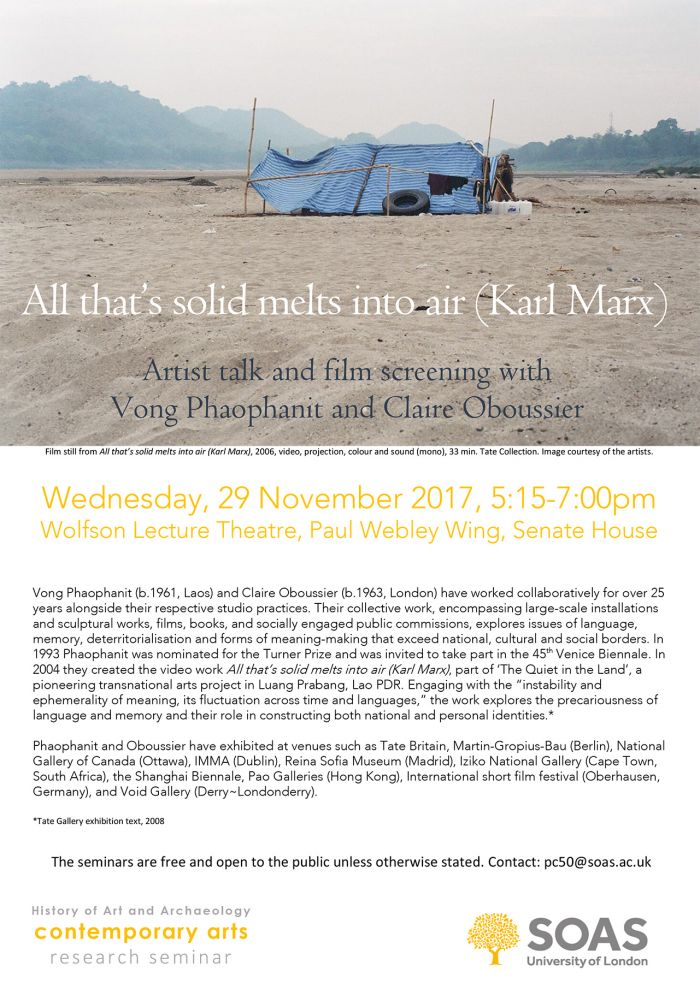 Public Lecture and Film Screening at SOAS University Of London – November 2017