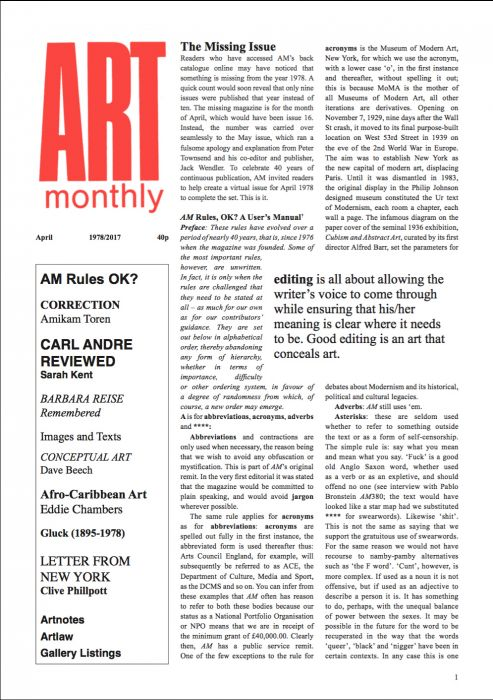 Art Monthly – The Missing Issue May 1978-2017